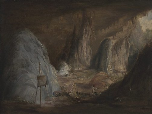 An image of Stalagmites, Burragalong Cavern by Conrad Martens