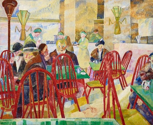 An image of The Lacquer Room by Grace Cossington Smith