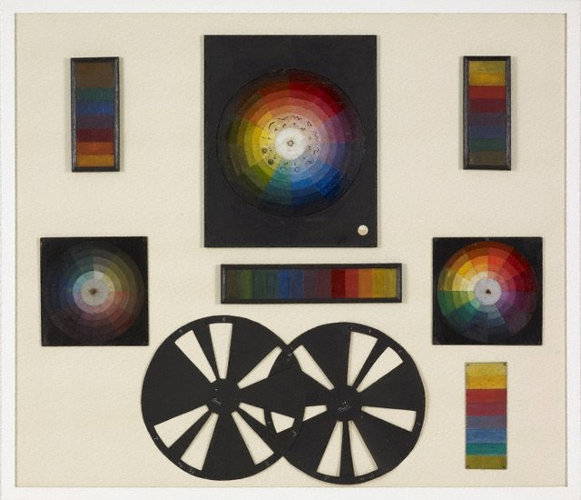An image of (A set of colour discs, scales, wheels)