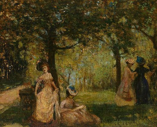 An image of Ladies in a garden by Charles Conder
