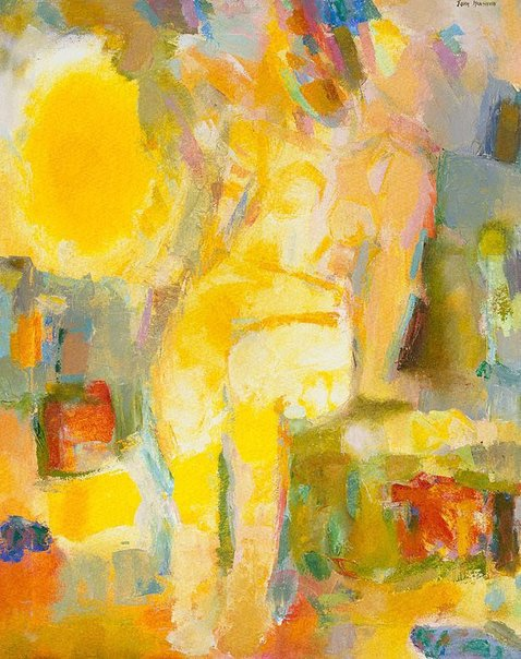 An image of Nude in yellow by John Henshaw