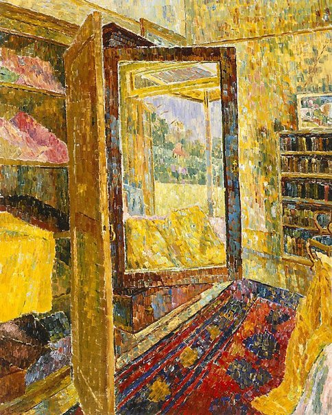 An image of Interior with wardrobe mirror by Grace Cossington Smith