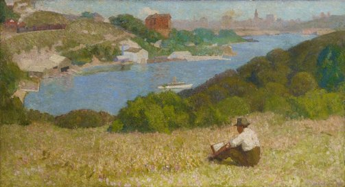 An image of Down the hills to Berry's Bay by Roland Wakelin