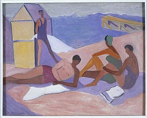 An image of Figures bathing by Roy de Maistre