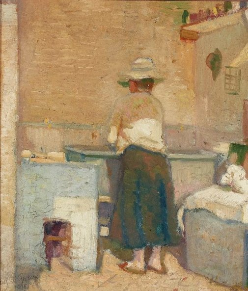 An image of Woman at a washtub by Nils Gren