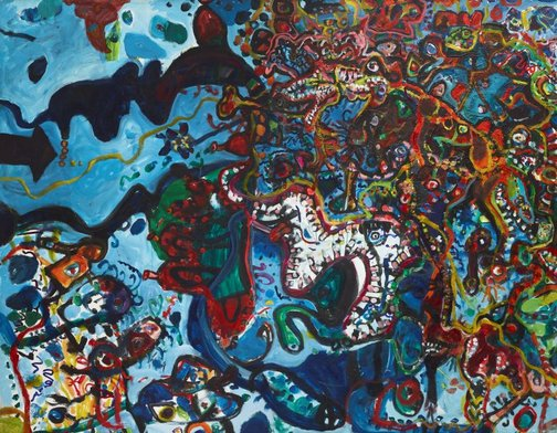 An image of Entrance to the seaport of desire by John Olsen