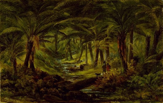 An image of Fern gully with Aboriginal family