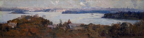 An image of Sydney Harbour from Penshurst (Cremorne) by Arthur Streeton