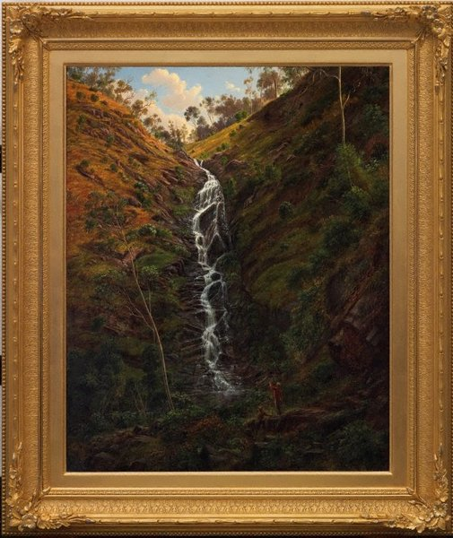 An image of Waterfall, Strath Creek by Eugene von Guérard