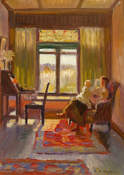 An image of (Interior with mother and child, Exeter, NSW) by Roy de Maistre
