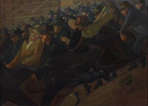 An image of Rushing by Grace Cossington Smith