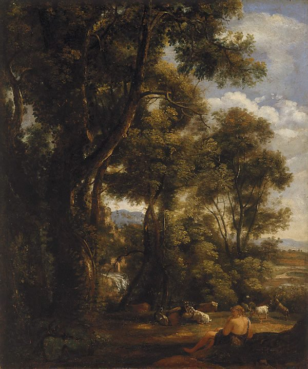 An image of Landscape with goatherd and goats (after Claude)