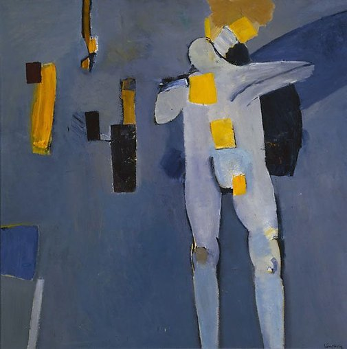 An image of Figure against a blue background by Keith Vaughan