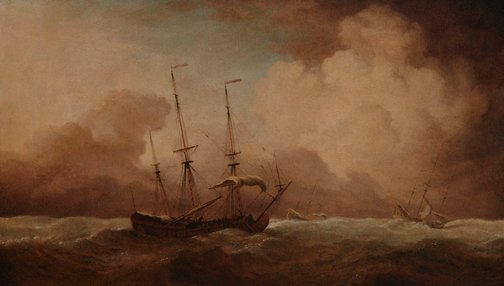 An image of English ships running before a gale by Willem van de Velde the Younger