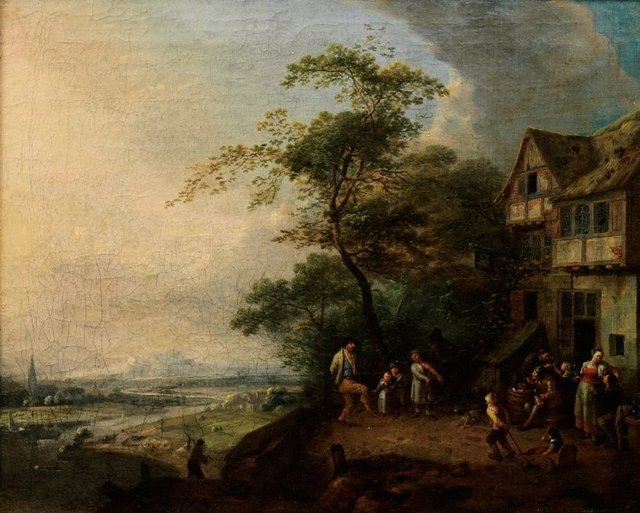 An image of Scene before an inn