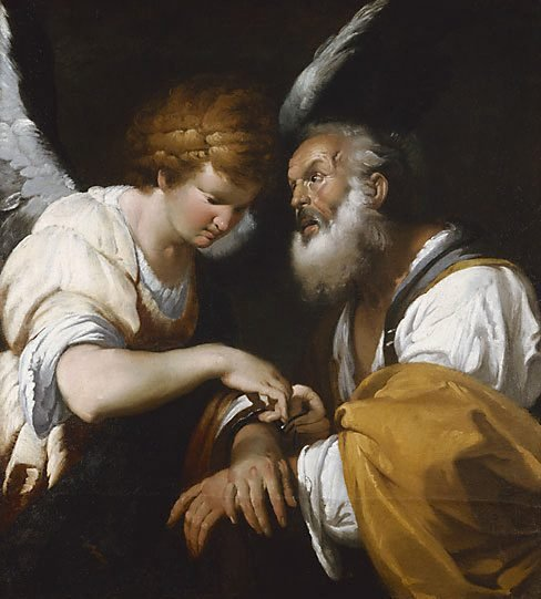 An image of The release of St Peter by Bernardo Strozzi