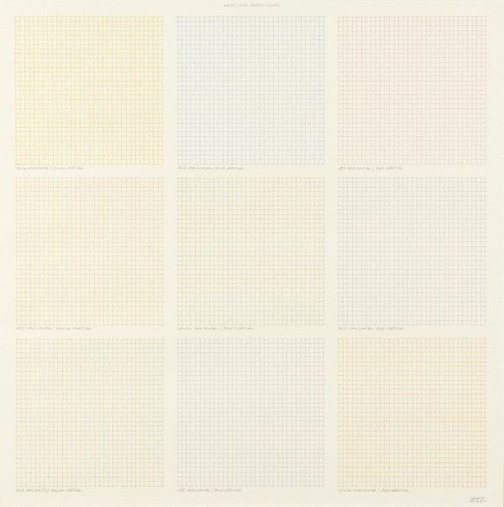 An image of Grids using three colors by Sol LeWitt