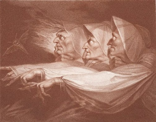 An image of The weird sisters by Peltro Williams Tomkins, after Henry Fuseli