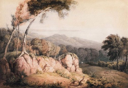 An image of A view in southern Australia with Aboriginals spearing kangaroos by Thomas Heaphy Junior