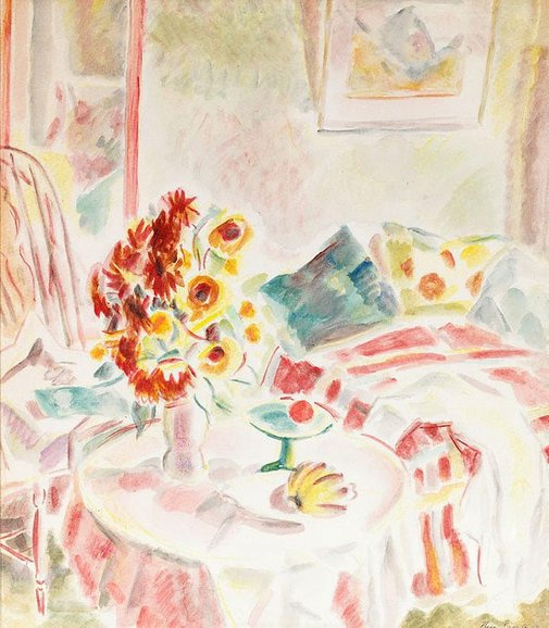 An image of Interior with flowers by Thea Proctor