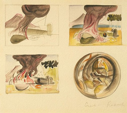"An image of Four studies for ""Bomber crash"" by Frank Hinder"