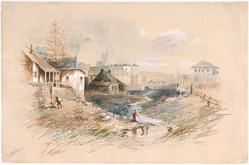 An image of The Tank Stream, Sydney by John Skinner Prout