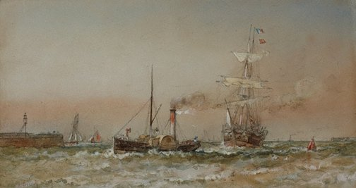 An image of Tug bringing vessel into Ramsgate by Oswald Brierly