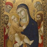 Image: Sano di Pietro Madonna and Child with Saints Jerome, John the Baptist, Bernardino and Bartholomew