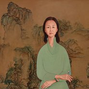 Image: Dapeng Liu Portrait of Yin Cao on blue-and-green landscape (detail), Archibald Prize 2014 finalist