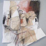 Image: Annie Herron Still life (detail), charcoal and conte on collaged papers.