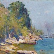 Image: Arthur Streeton From my camp (Sirius Cove) 1896 (detail)