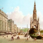 Image: Vintage print of Princes Street Sir Walter Scott's Monument and Princes Street Edinburgh, Scotland. Courtesy of iStock