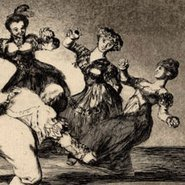 Image: Francisco de Goya Plate 12 from the Disparates: figures dancing in a circle c1816–24 (detail) etching © The Trustees of the British Museum