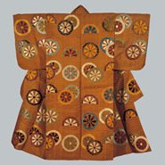 Image: Atsuita nō robe with design of ocean waves and Genji wheels, Edo period, 18th century, National Noh Theatre