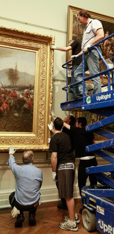 Conservation and installation crew at work