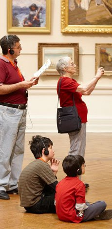 Visitors on self-guided audio tour of the Gallery
