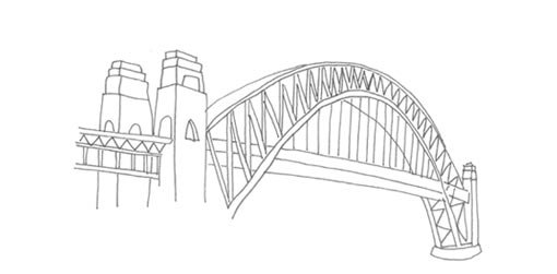 Line drawing of Sydney Harbour Bridge Drawing For Kids