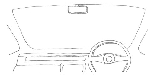 Line drawing of car windscreen