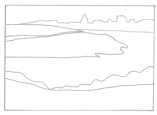 Line drawing of Berry's Bay landscape