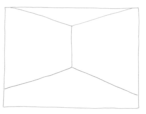 Line drawing of an empty room