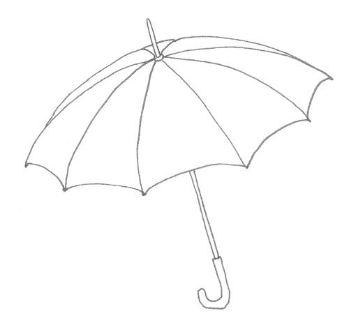 Line drawing of an umbrella