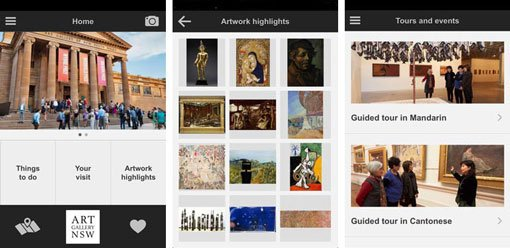 Screenshots from Art Gallery of NSW guide: Chinese app