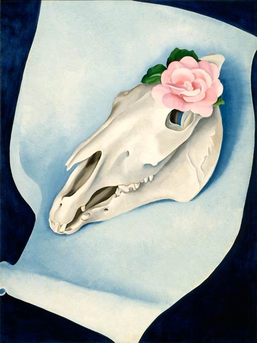 Georgia O'Keeffe, Horse's skull with pink rose, 1931
