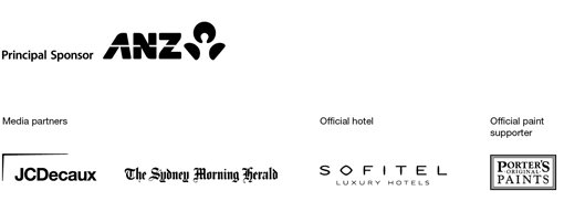 Principal sponsor ANZ. Supported by JCDecaux, Porter's Original Paints, Sofitel Luxury Hotels, The Sydney Morning Herald