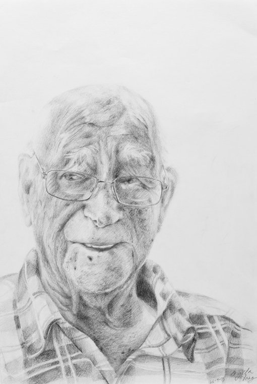 WinnerAngela YangAge 17Riverwood NSW  	I have chosen to draw my neighbour Frank. None of my grandparents are alive or in Australia so I have always felt that Frank and his partner Nancy have been the elderly figures in my life. Despite his age, Frank has always had the time to crack a joke, give a smile and ask how the chokos are growing out the back, and for that reason, I have decided to draw him.