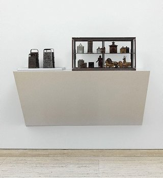 Haim Steinbach Untitled (graters, Victorian iron banks) 1990