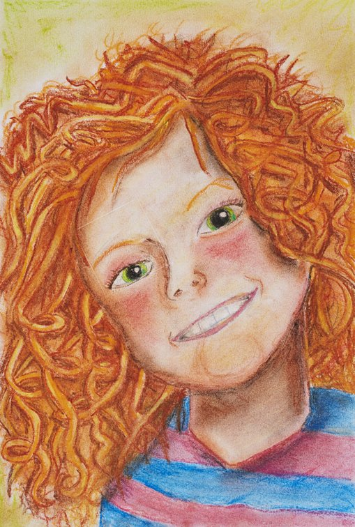 WinnerCaitlin PriestleyAge 11Avoca Beach NSW  	I drew my little sister, Emma. Her wild orange curls are featured in my soft pastel artwork to show her energy and vibrant personality. Her rosy red cheeks and kind smile show her fun, excitable behaviour. I made sure to incorporate as many colours into my artwork as possible to show how unique she is.