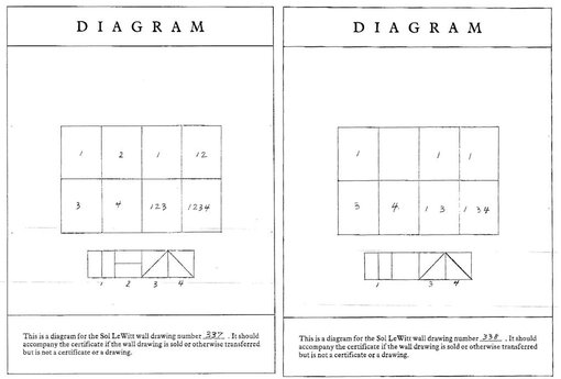Diagram and instructions for Wall drawing #337 and Wall drawing #337  	For LeWitt, it is not the completed drawing on the wall but this schematic diagram and instructions that is the artwork. As long as the idea has been documented, the work exists and need never be built.  	Courtesy Sol LeWitt Studio/John Kaldor