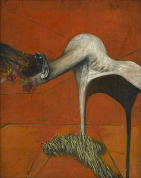 A study for a figure at the base of a crucifixion 1943-44oil and pastel on board, 94 × 74 cm, courtesy Murderme