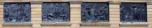 4 bas reliefs at the front of the Gallery